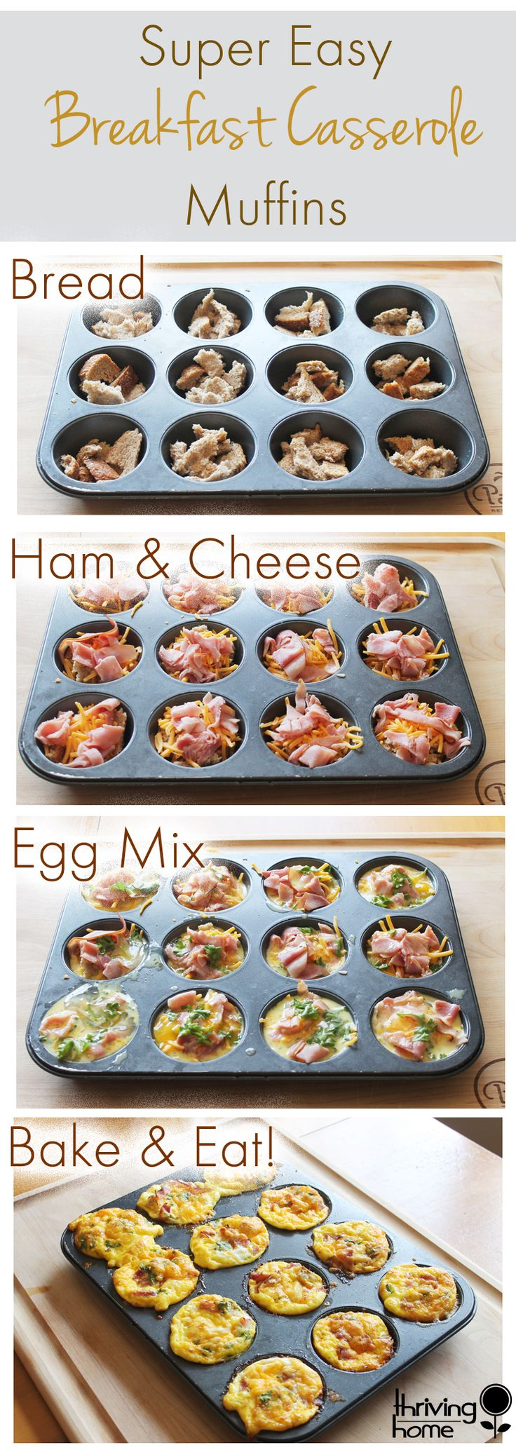 Ingredients  3-4 pieces whole wheat bread, torn into small pieces (enough to fill muffin tins almost to top) 3-4 slices deli ham (look for preservative-free) 1 cup shredded cheddar cheese 8 eggs 1 cup milk 2 teaspoons ground mustard 1 teaspoon ground pepper (or more or less to taste) dried Parsley