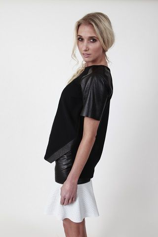 What Goes Around Peplum Skirt and Playoff Leather Sleeve Sweat - www.hideseekers.com