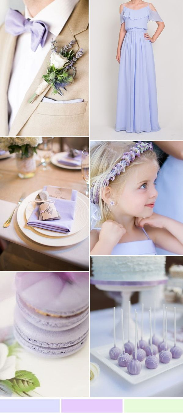 tahiti and lilac wedding colors and long bridesmaid dresses 2016