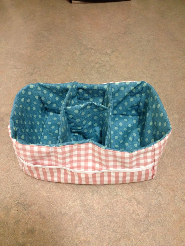 Fabric box / Storage basket with dividers and pockets for the all medicine stuff in the cleaning cupboard