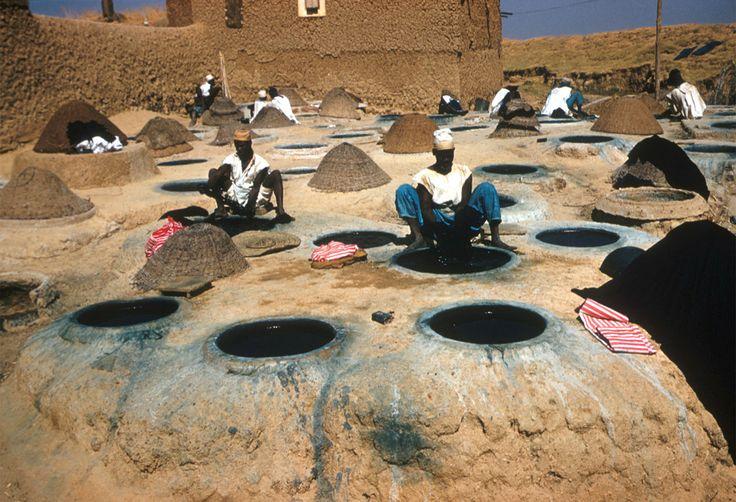 Africa   Kano, Nigeria   Hausa man at indigo dye pits with basket lids   ca. 1959   ©Eliot Elisofon