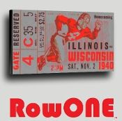 Wisconsin Badgers wall decor, Wisconsin Badgers football art, Row One Brand ticket art, Row One vintage ticket art, ticket art, Row One