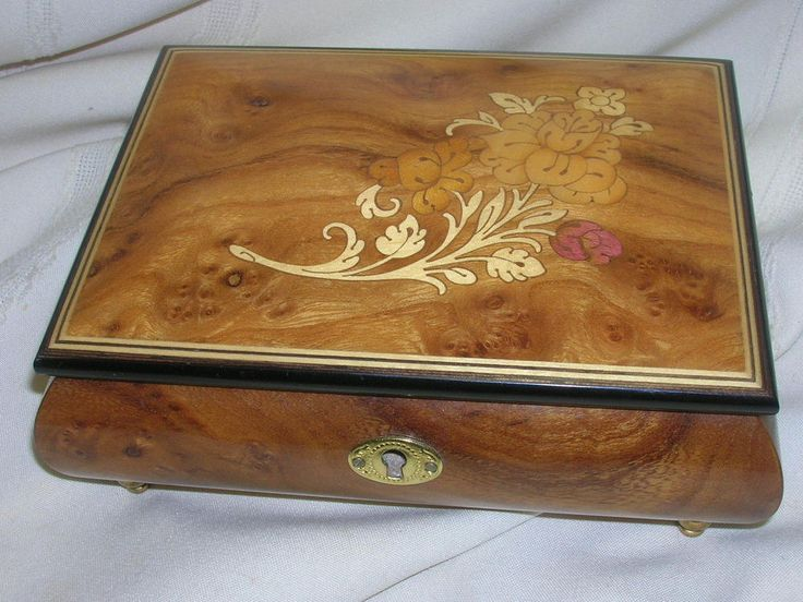 Jewelry Box The San Francisco Music Box Co. Made in Itlay Inlaid Flower Design