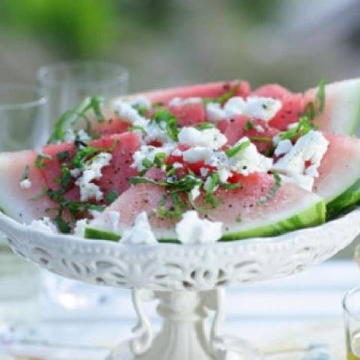 Vattenmelon med fetaost och mynta