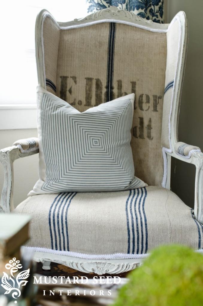 grain sack wing chair