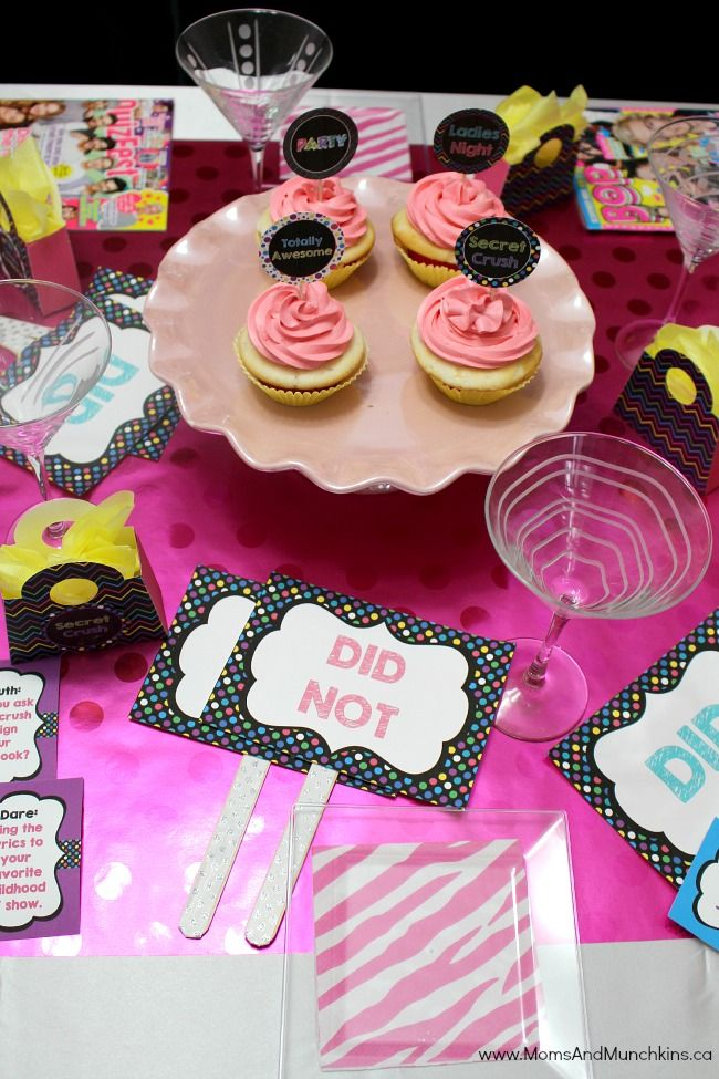 These 80's ladies night ideas come with fun printables like games, cupcake circles, favor bags an invitations. Who was your tween celebrity crush?