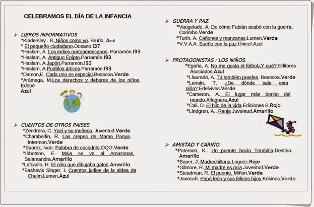 Guía de lectura para celebrar el Día de los Derechos del Niño, el 20 de noviembre, publicada por la Biblioteca Municipal de El Viso del Alcor (Sevilla).