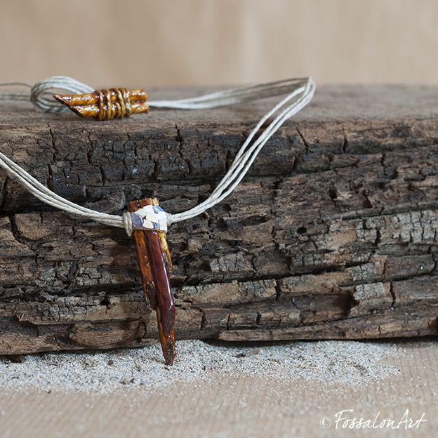 Necklace. Hemp twine and seashells' chips. | Handamade by FossalonArt