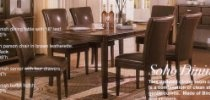 7pc Soho Style Birch & Veneers Dining Table & Leatherette Parson Chairs Set