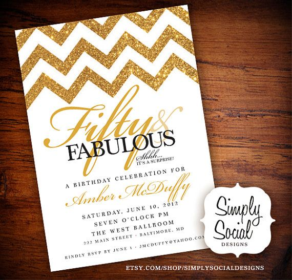 Surprise 50th Birthday Party Invitation with Gold Glitter Chevron