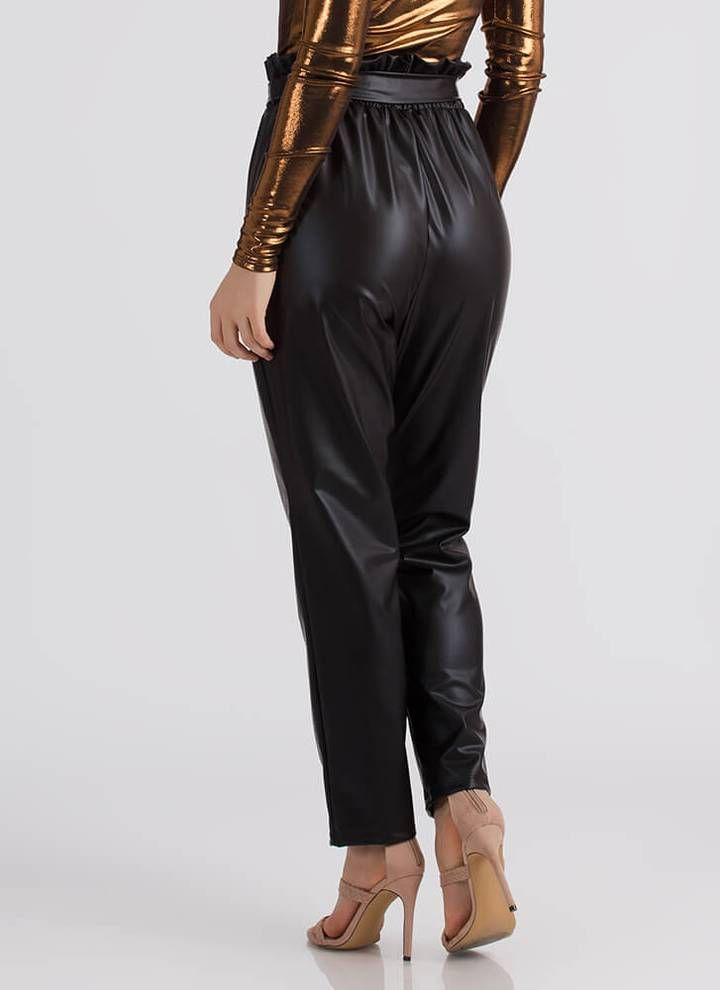 These Vegan Leather Pants Features A Ruffle High Waist Self Tie