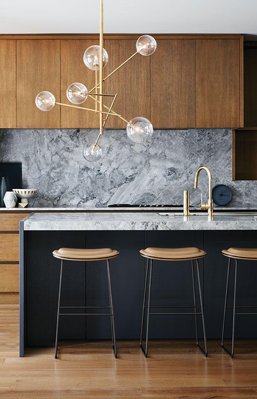 151 best contemporary lighting design images on pinterest home grey marble backsplash natural wood cabinets modern kitchen