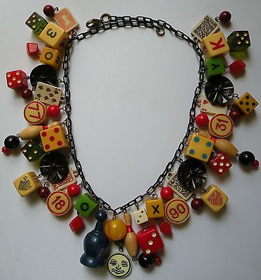 Vintage game pieces bakelite dice bowling bingo mini playing card charm necklace | eBay
