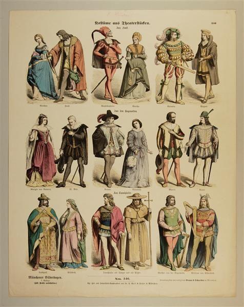 Münchener Bilderbogen. 7. Auflage. Nro. 346. Kostüme aus Theaterstücken. Aus Faust. / Aus den Hugenotten. / Aus Tannhäuser.