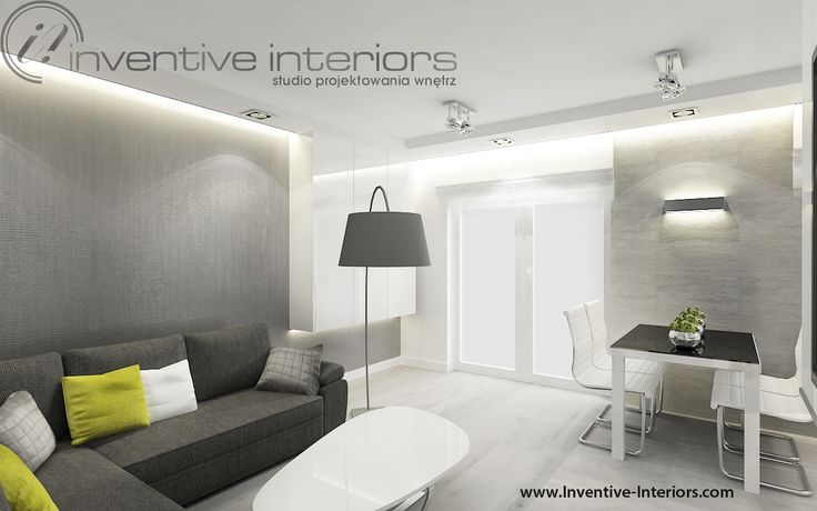 Projekt salonu z aneksem Inventive Interiors - Biało szary minimalistyczny salon z betonem