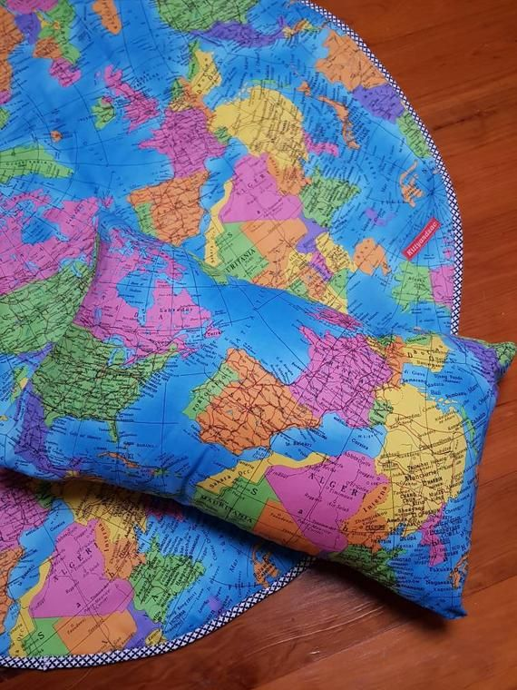 Round Playmat Rug Tummy Time Traveler World Map Print Handmade By Kittyandzac Australia Ready To Ship Kawaii Rugs