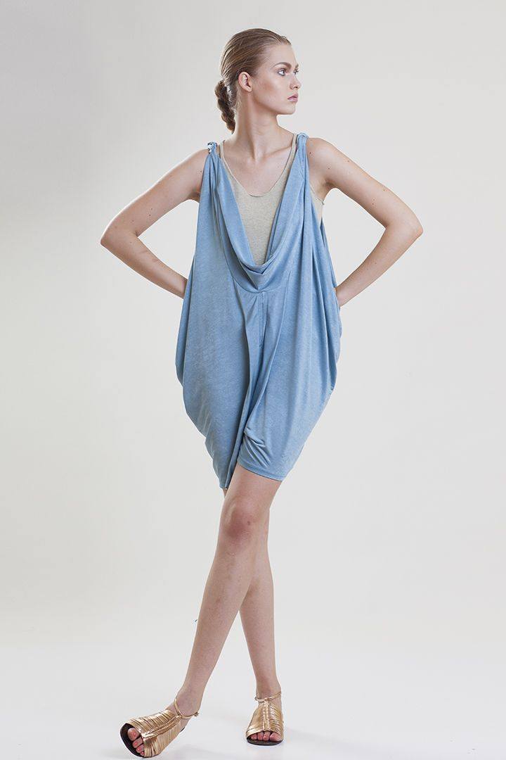 multifunctional, draped  jersey dress Spring Summer 2015