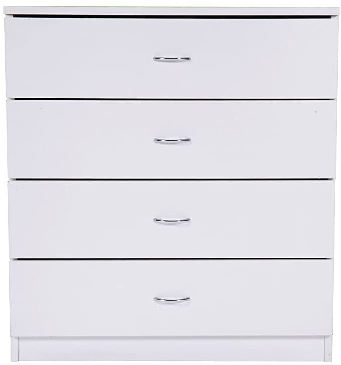Zebery Mdf Wood Simple 4 Drawer Dresser White In 2020 Storage Cabinet With Drawers White Wood Dresser Wooden Storage Cabinet