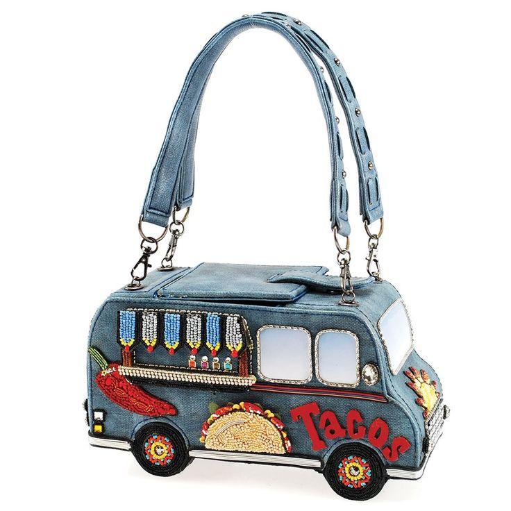 Street Eats Handbag Beaded Taco Truck Top Handle Novelty Handbag Designer Embellished Handbags