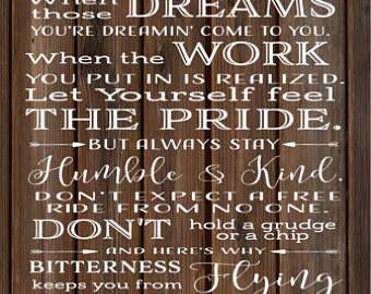 Always Stay Humble And Kind Lyrics Tim Mcgraw Wood Sign Canvas Wall Art Banner Dorm Christmas