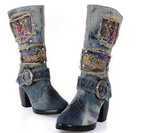 Hot vente Sexy Appliques bleu Jeans bottes bout pointu bottes de cow , boy  haute talons