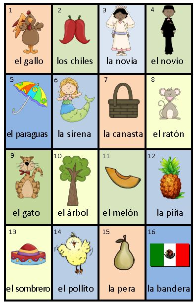 Juego de loteria / Loto en espagnol