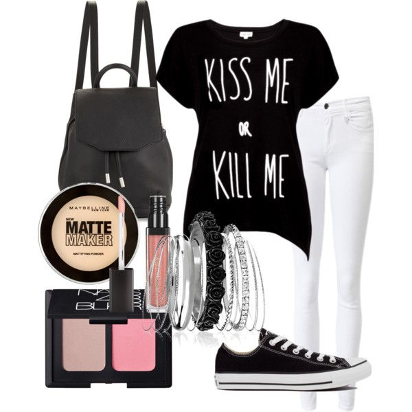 CASUAL by rowniezhao on Polyvore featuring polyvore, fashion, style, Rotten Roach, Converse, rag & bone, Avenue, NARS Cosmetics and Maybelline