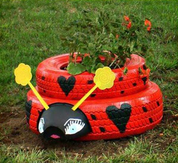 Ladybug Tire Planter | Cute and Easy Golf Ball Ladybugs to Rock Your Garden
