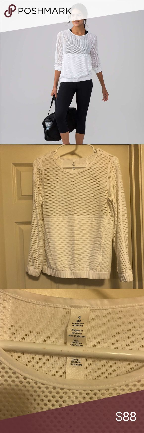 Lululemon Mesh on Mesh Popover Size 4 In excellent condition! Only worn once on a light walk no signs of wear. Purchase will include original tag and a lululemon shopping bag.   Feel the summer breeze on your skin during outdoor boot camp classes or on your commute home from the beach in this pullover made from two types of breathable Mesh fabric. Mesh fabric is lightweight and breathable. lululemon athletica Tops