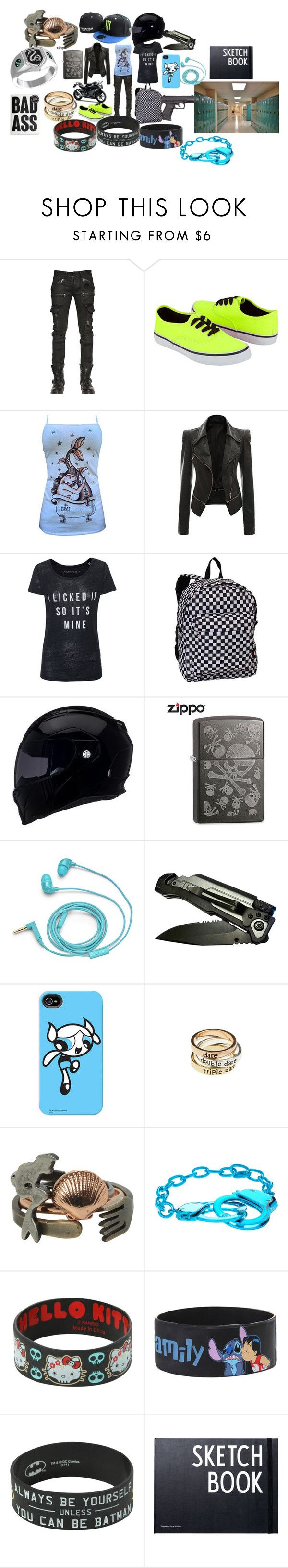 """""""School With The Skateboarder."""" by circus-queen ❤ liked on Polyvore featuring Diesel Black Gold, Soda, Everest, Kawasaki, Revolver, Zippo, FOSSIL, New Era, American Eagle Outfitters and Disney"""