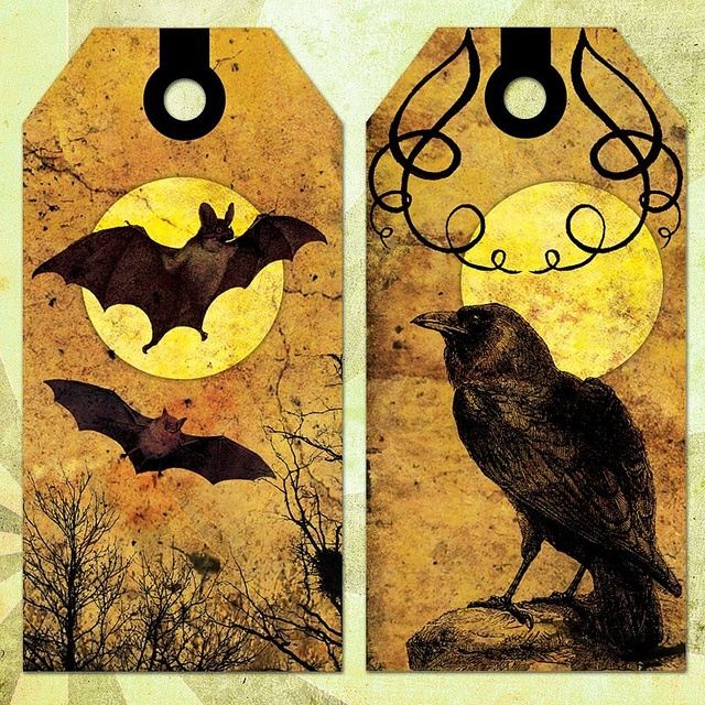 Victorian gothic Halloween tags