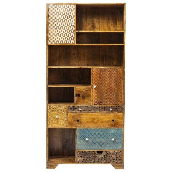 azteca retro wooden bookcase shelving unit liked on polyvore featuring home