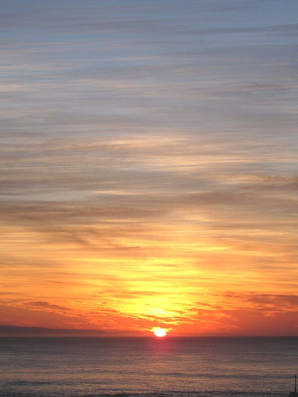 Sunset over the sea in Overberg