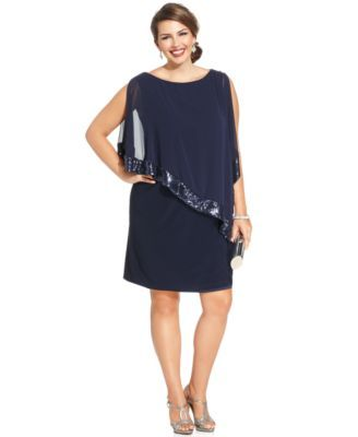Xscape Plus Size Sequin-Trim Capelet Dress | macys.com