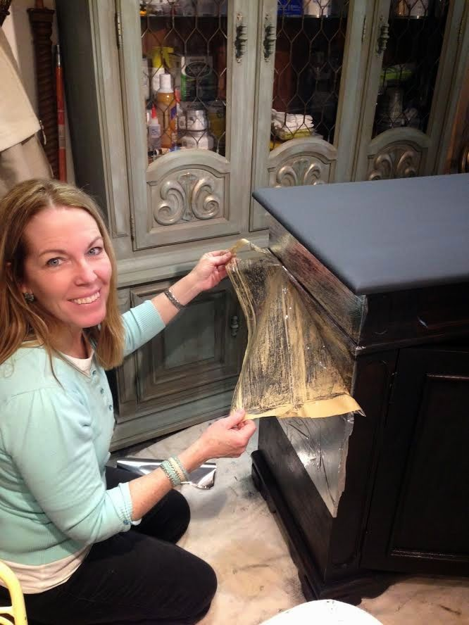 Aged silver leaf on a cabinet is a beautiful look.   Want to get the look without the hassle?     Our lovely cabinet was not so lovel...