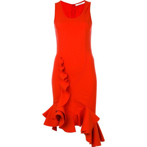 Givenchy ruffle trim fitted dress ($2,096) ❤ liked on Polyvore featuring dresses, red, tight red dress, cocktail dresses, holiday dresses, red ruffle dress and form fitting cocktail dresses