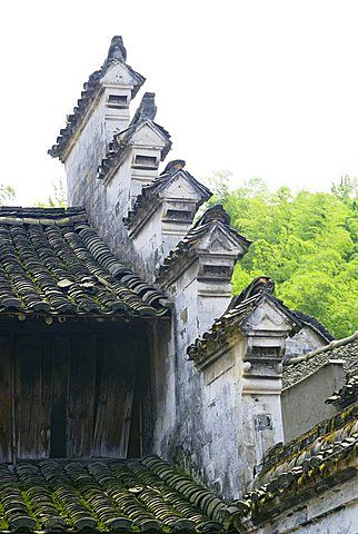 A gable roof of a traditional Chinese residential house in Zhejiang Province