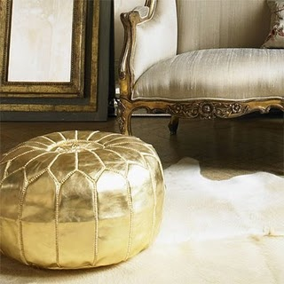 gold pouf: Gold Poufs, Gold Leather, Gold Ottomans, Gold Diggers, Beans Bags, Gold Accent, Moroccan Poufs, Old Chairs, Furniture Decor