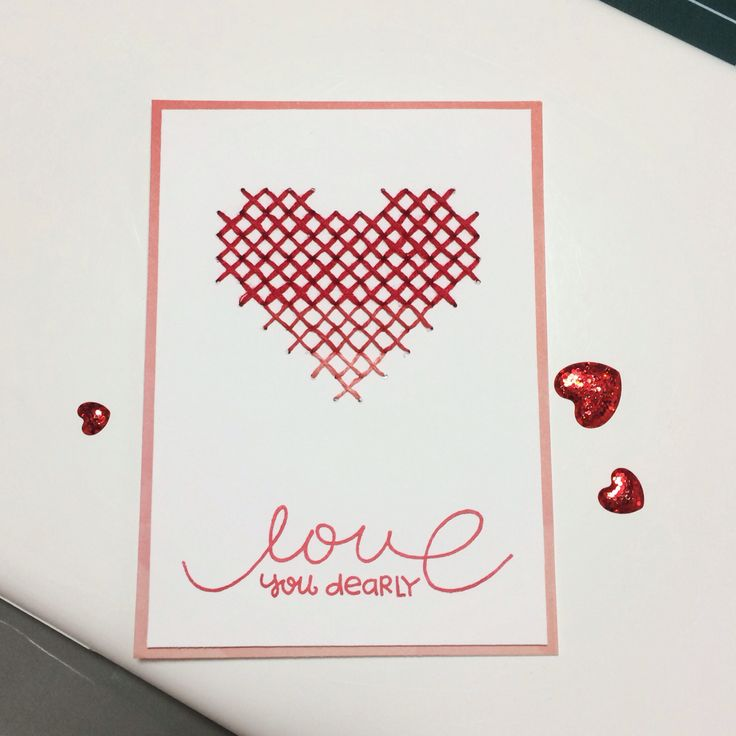 stitched card! hearts