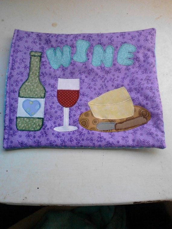 Wine mug rug Bigger than a coaster smaller than a place by pjcrckr  protect computer desk, coffee table, or counter / cute / coordinated designed / match your mouse pad / fabric / preppy