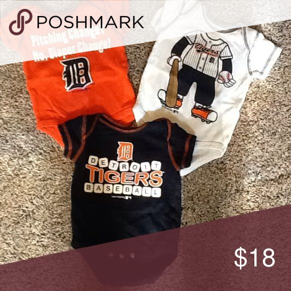 Detroit Tigers baby onesies Size 0-3 months Detroit Tigers onesies team atletics Shirts & Tops