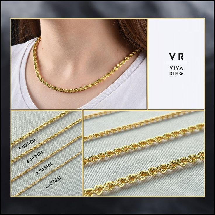 Solid 14k Gold Rope Chain Necklace Gold Women Chain Hollow Gold Chain Rope Chain Necklace 16 28 Inc 2 35mm To 5mm Thick Gold Chain 14k Gold Rope Chain Thick Gold Chain