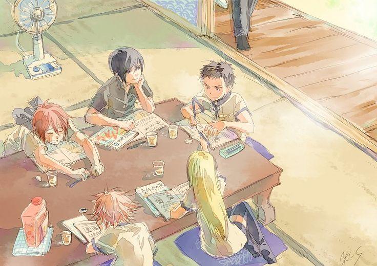 夏休みの宿題は、もらった日から始めて、最初の一週間で終わらせるんだ。 「みんなお疲れ様。スイカでも食べて休憩しない?」 #今日も本丸は平和です #刀剣男子夏休み