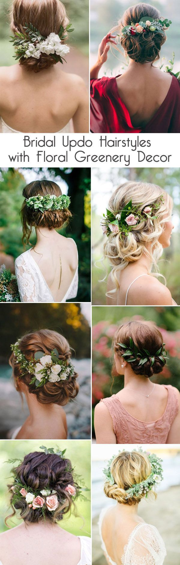 pretty bridal updo hairstyles with floral greenery decor