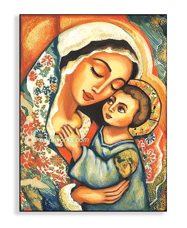Mary and Jesus, Folk Art Icon, Religious Painting, Virgin Mary Mother, Mothers Day, Mother and Child, Wall Decor - Art Print on Wood Block. $18.00, via Etsy.