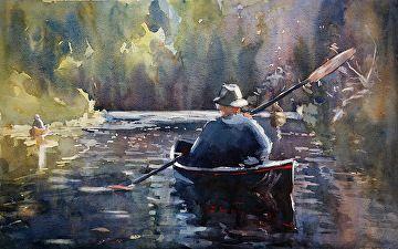 The Guide-Adirondacks by Sarah Yeoman Watercolor ~ 14 x 21