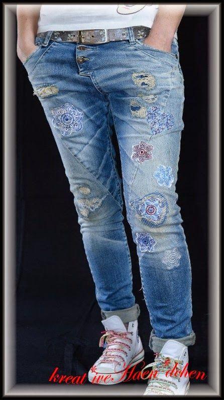 Jeans Denim cool stuff flicken patches lace doily Spize unterlegen sticken embroidery Hose Pants krea*tiveHaen*dchen