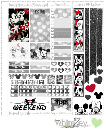 Free Printable Mickey & Minnie Love Planner Stickers from Oh So WhimZey