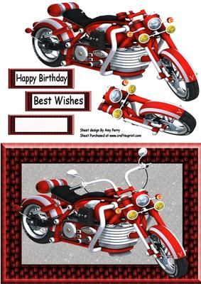 """Beautiful Red Motorbike on Craftsuprint designed by Amy Perry - Beautiful Red Motorbike in lovely red woven effect frame, also has decoupage and choice of tag """"Happy Birthday"""" """"Best Wishes"""" and a blank tag for your own sentiment."""