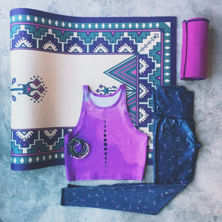 The perfect combo of bright lavender + cool grey from Teeki & La Vie Boheme Yoga.